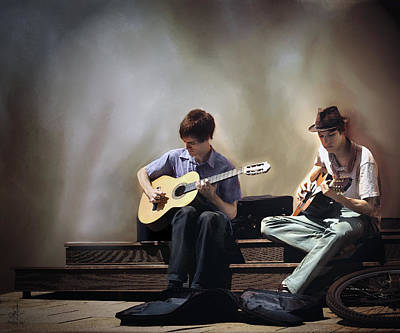 Digital Art - Buskers by Pennie McCracken
