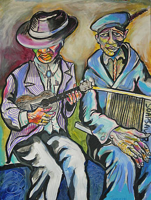 Washboard Painting - Buskers by Stephen Karla