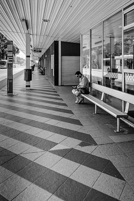 Busstop Photograph - Busstop Waiting Man by Paul Donohoe