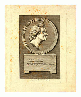 Portrait Old Age Drawing - Bust-length Double Profile Portrait Of The Montgolfier by English School