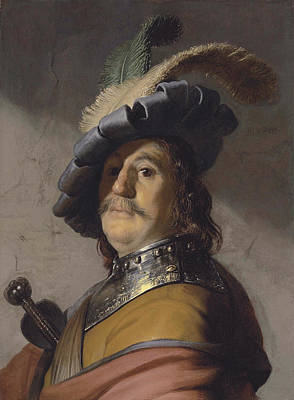 Beret Painting - Bust Of A Man In A Gorget And A Feathered Beret by Rembrandt van Rijn