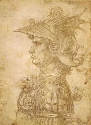 Bust Of Leonardo Da Vinci Painting - Bust Of A Warrior In Profile by Leonardo da Vinci