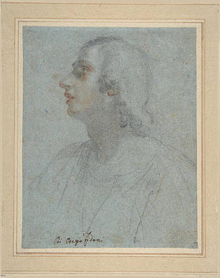 Drawing - Bust Of A Youth Looking To Upper Left  by Orazio Fidani