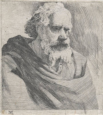 Loose Drawing - Bust Of An Old Bearded Man, Michael Sweerts by Michael Sweerts