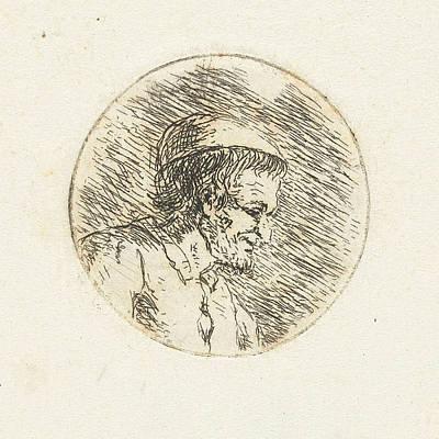 Christina Drawing - Bust Of An Unknown Man, Christina Chalon by Christina Chalon