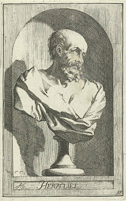 Weeping Drawing - Bust Of Heraclitus, Print Maker Arnold Houbraken by Arnold Houbraken And Leonard Schenk