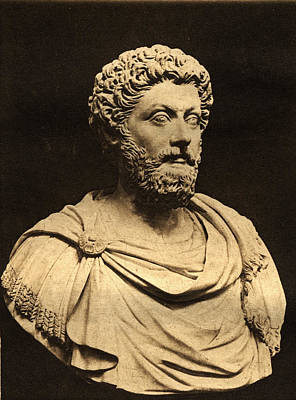 Marble Statues Photograph - Bust Of Marcus Aurelius 121-80 Ad Marble by English Photographer