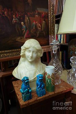 Scupture Photograph - Bust Painting Knick Knacks In Antique Shop by Amy Cicconi