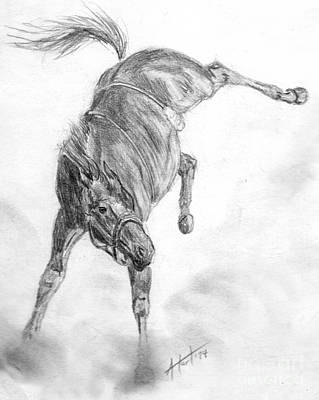 Drawing - Busted Bronc by Audrey Van Tassell