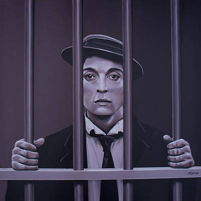 Buster Keaton Painting Original by Paul Meijering