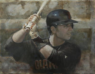 Buster Posey Painting - Buster Training by Darren Kerr