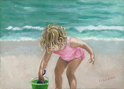 Busy Beach Girl Art Print