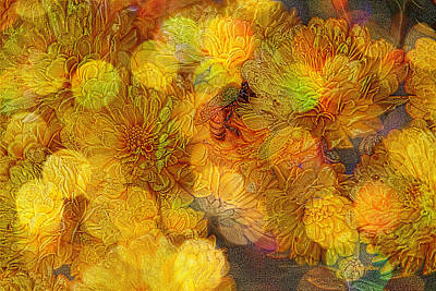 Manipulation Photograph - Busy Bee In The Marigolds by EricaMaxine  Price