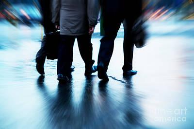 Crosswalk Photograph - Busy Business People Walking by Michal Bednarek