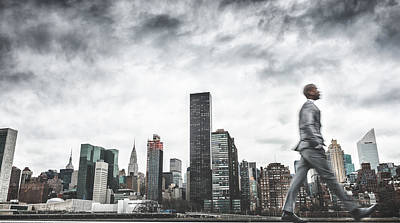 Busy Business Walking Fast On New York Art Print by Franckreporter