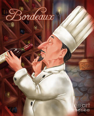 Vino Mixed Media - Busy Chef With Bordeaux by Shari Warren
