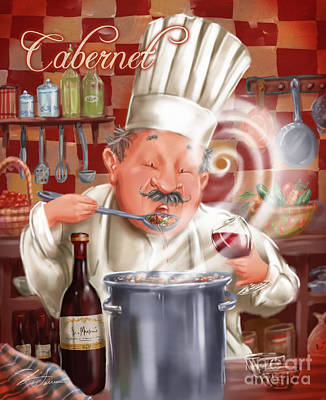 Vino Mixed Media - Busy Chef With Cabernet by Shari Warren