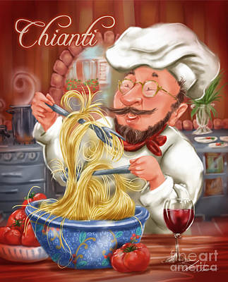 Chef Mixed Media - Busy Chef With Chianti by Shari Warren