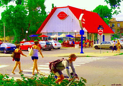 Montreal Street Life Painting - Busy Day The Dairy Queen Along The Bike Path Lachine Canal Montreal Art Urban Scenes Carole Spandau by Carole Spandau