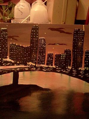 Landscape. Of City At Night And A Bridge Painting - Busy Ness by Renee McKnight