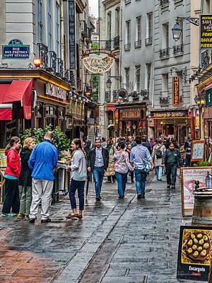 Paris Shop Digital Art - Busy Paris Street by Sheldon Anderson