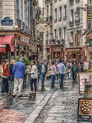 Paris Shop Digital Art - Busy Paris Streets by Sheldon Anderson
