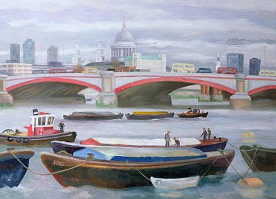 River Scenes Painting - Busy Scene At Blackfriars by Terry Scales