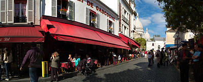 Sacre Coeur Photograph - Busy Street Lined With Bistros by Panoramic Images