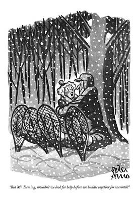 Winter Drawing - But Mr. Deming by Peter Arno