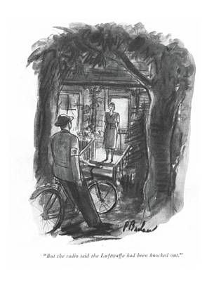 Messenger Drawing - But The Radio Said The Luftwaffe Had Been Knocked by Perry Barlow