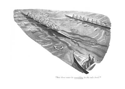 Row Boat Drawing - But There Must Be Something In The Rule Book! by Robert J. Day