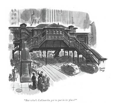 Train Tracks Drawing - But What's Laguardia Going To Put In Its Place? by Robert J. Day