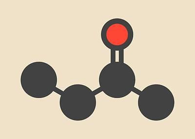 Butanone Molecule Art Print by Molekuul