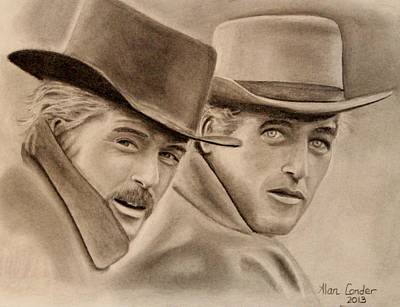 Butch Cassidy Drawing - Butch Cassidy Sundance Kid by Alan Conder