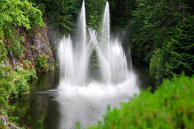 Red Photograph - Butchart Gardens Waterfalls by Lisa Phillips