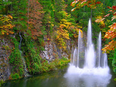Photograph - Butchart Waterfall And Fountain-- by Brian Hoover