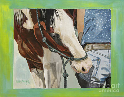 Tri Color Horse Painting - Butt Bite by Patty Stern