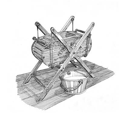 Drawing - Butter Churn Circa 1822 by Jack Pumphrey