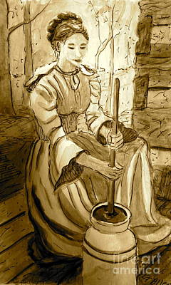 Painting - Butter Churner-sepia by Gretchen Allen
