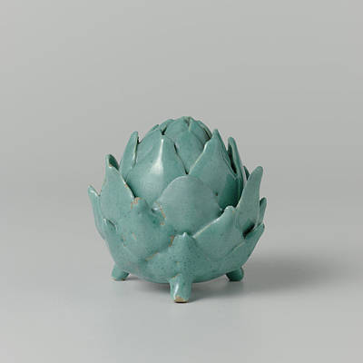 Artichoke Drawing - Butter Dish Of Faience In The Shape Of An Artichoke by Quint Lox