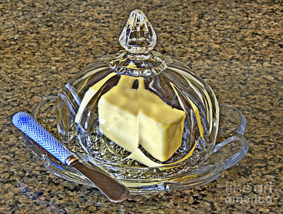 Photograph - Butter In Crystal Dish With Knife by Valerie Garner