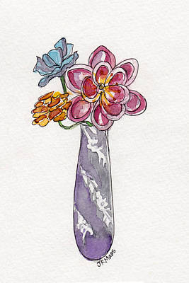 Butter Knife Vase With Flowers Art Print by Julie Maas