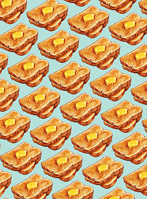 Buttered Toast Pattern Art Print by Kelly Gilleran