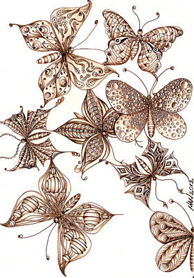 Nature Abstract Drawing - Butterflies by Anca S