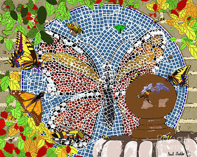 Butterflies And Bees Art Print
