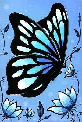 Butterfly Art Painting - Butterflies And Flowers 11 by Elaina  Wagner