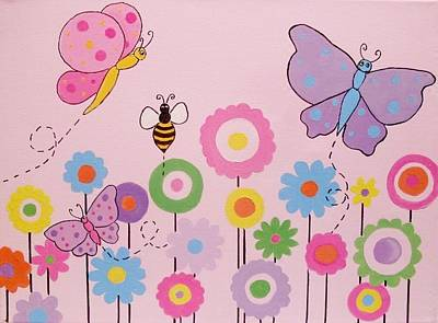 Painting - Butterflies And Flowers by Anne Gardner