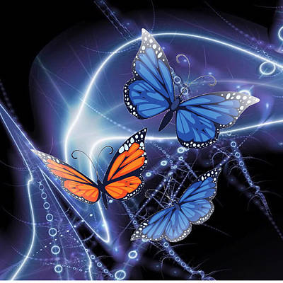 Butterflies At Night In Bright Light Original by Clive Littin
