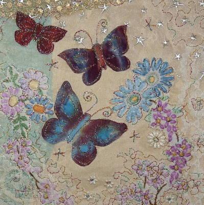 Tapestry - Textile - Butterflies by Hazel Millington