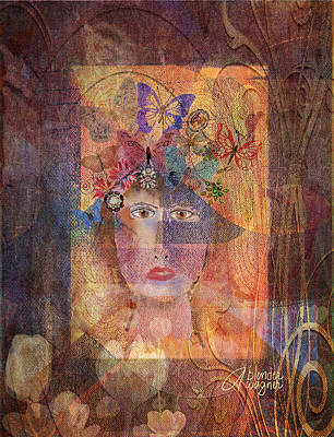Woman Digital Art - Butterflies In Her Hair by Arline Wagner